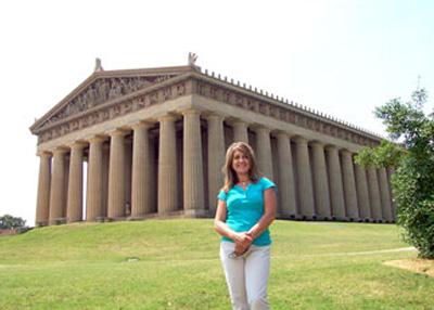 Linda Visiting the Replica Parthenon