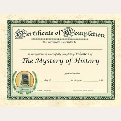 The Mystery of History Volume II Certificate of Completion